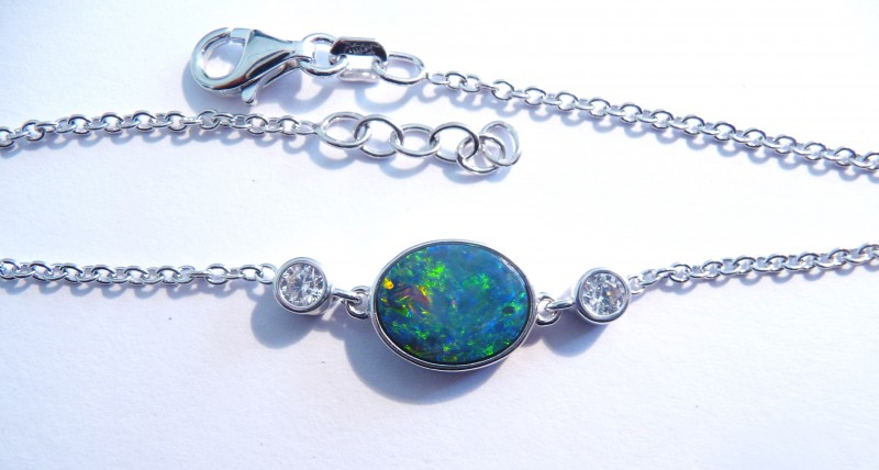 ON SALE was US$245 Stunning Australian Doublet Opal, CZ and St