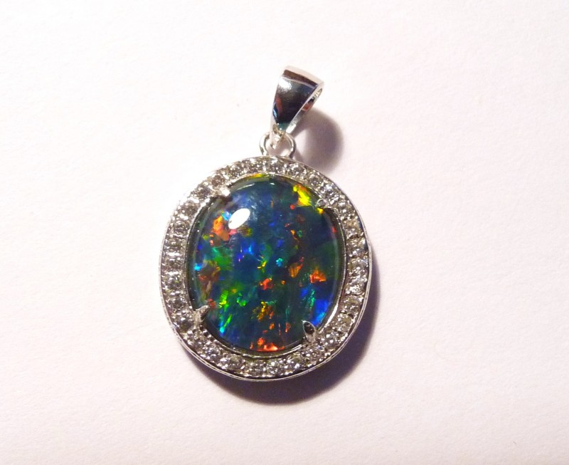 ON SALE was US$140 Pretty Australian Opal, CZ and Sterling Sil