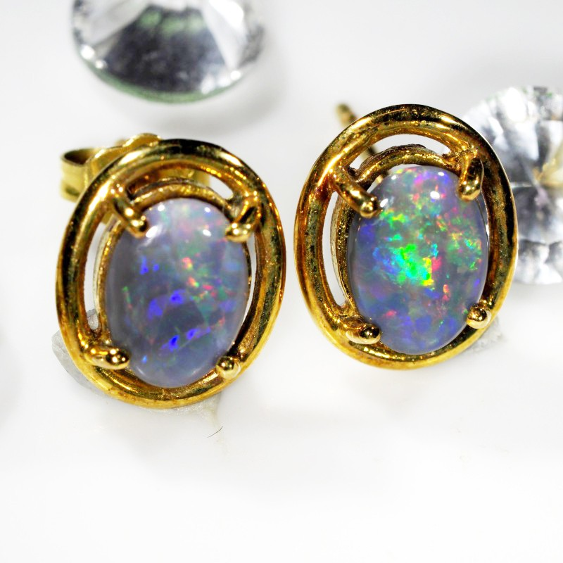 MULTI FIRE BLACK  OPAL 18K  GOLD EARRINGS  CK 38