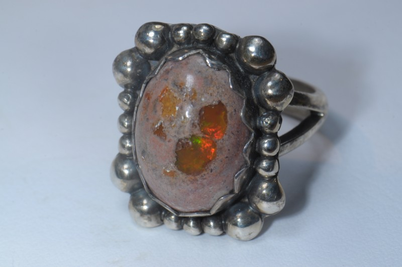 SOLID CANTERA OPAL HIGH QUALITY .925 STERLING FABULOUS RING