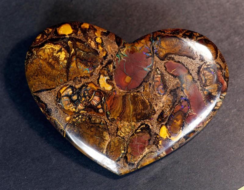 Large Koroit Conglomerate Boulder Opal Polished Heart Specimen - 238cts