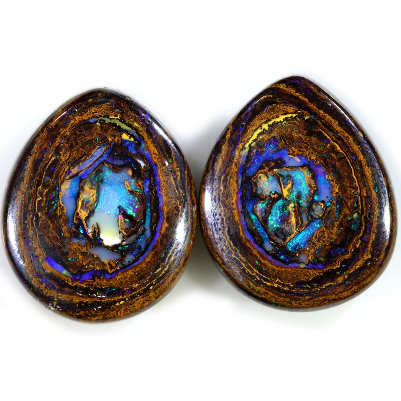 42.75 CTS BOULDER OPAL PAIR -TOP POLISH [BMS437]