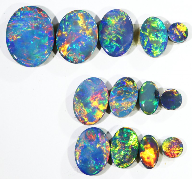 4.50CTS 13 PIECES OPAL DOUBLET PARCEL GREAT COLOUR PLAY --S533