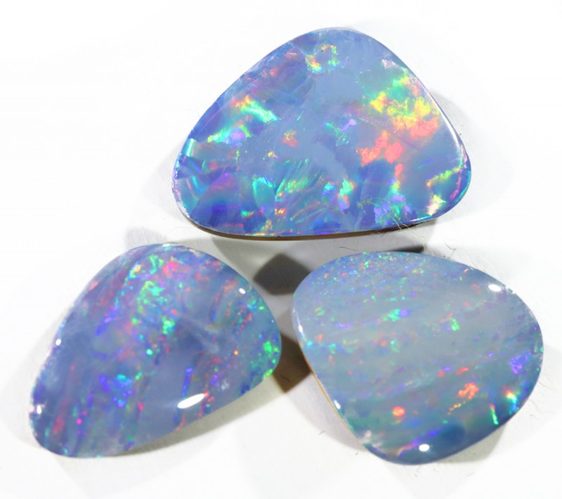12.29CTS SET 3 OPAL DOUBLET SKIN SHELL PARCELS GREAT COLOUR PLAY--S554