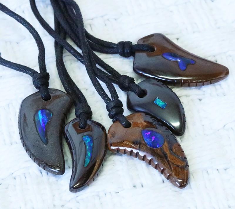Five Opal Inlay Into Ironstone ,shark shape Parcel SU1701