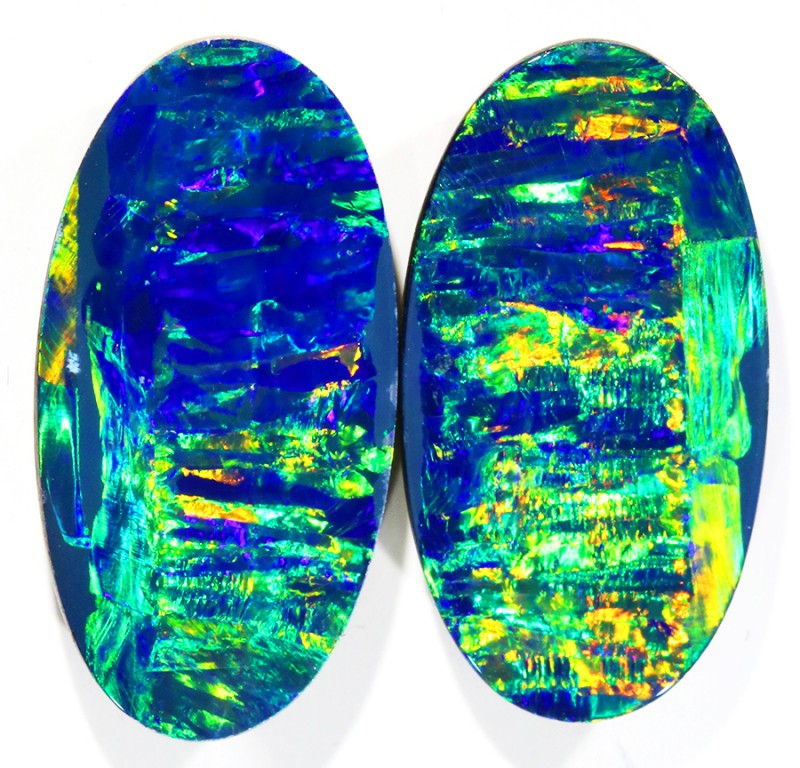 15.01CTS GEM QUALITY  OPAL DOUBLET PAIR , GREAT COLOUR PLAY --S603