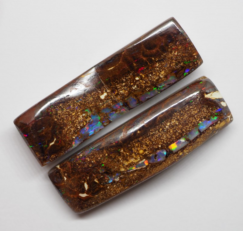 44.65CT BOULDER OPAL WOOD FOSSIL PAIR RE93