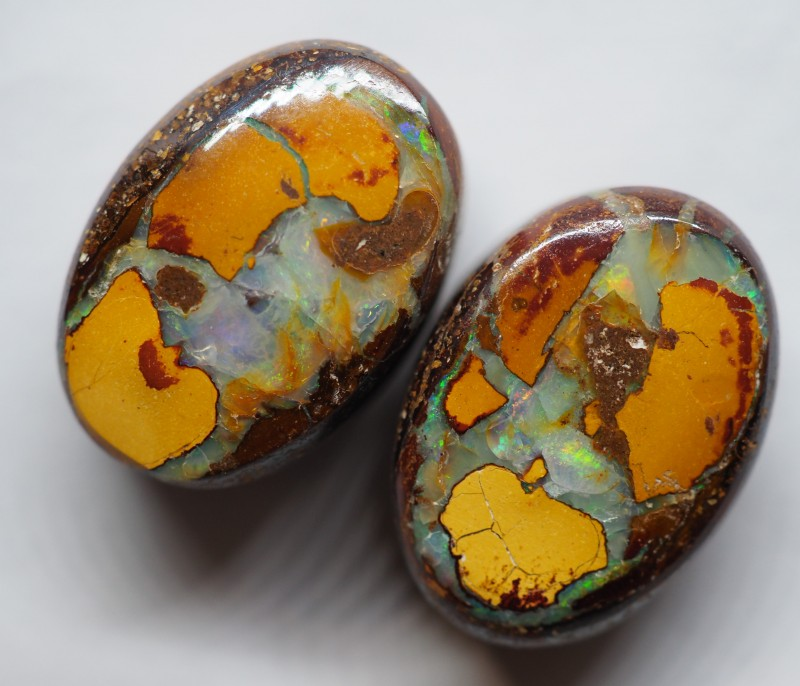 29.50CT VIEW PAIR QUEENSLAND BOULDER OPAL OI603