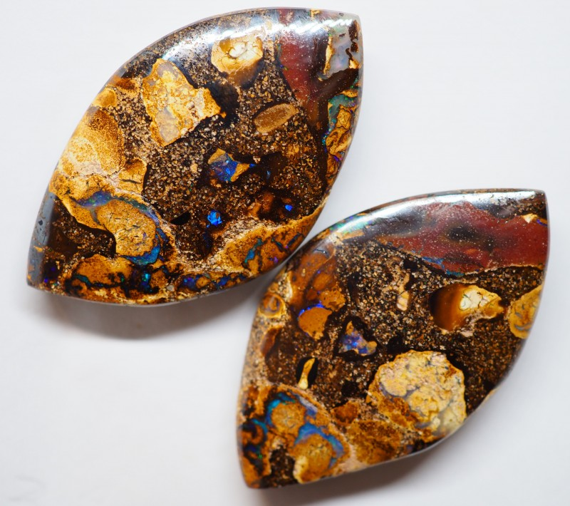 103.80CT VIEW PAIR QUEENSLAND BOULDER OPAL OI617