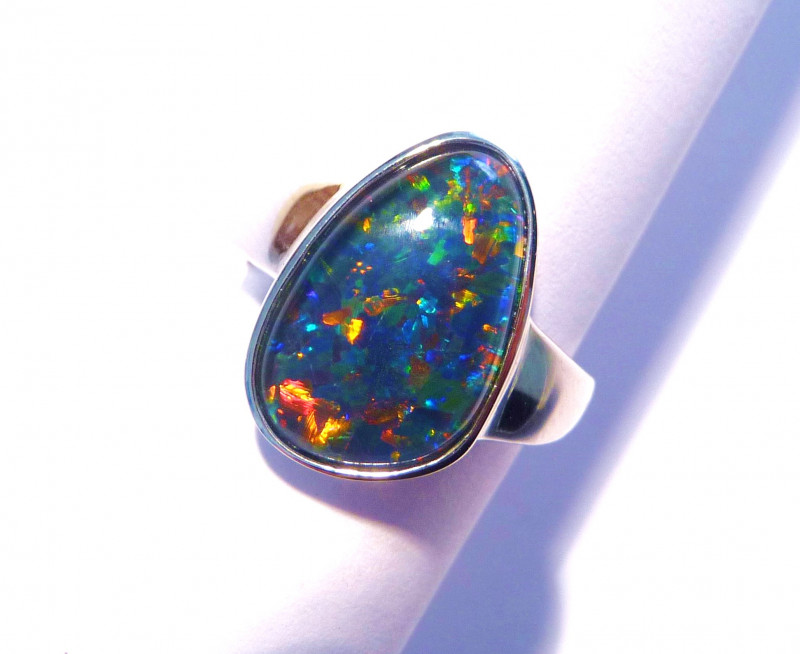Genuine Australian Gem Opal and solid Sterling Silver Ring