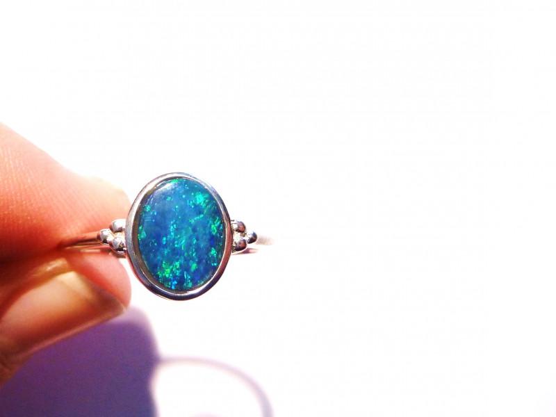 Genuine Australian Gem Opal and Sterling Silver Ring