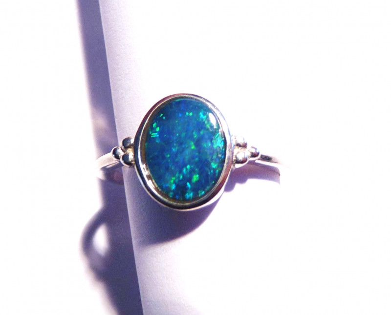 Genuine Australian Gem Opal and Sterling Silver Ring