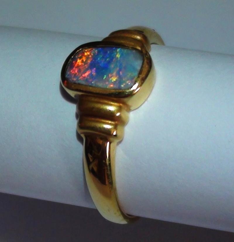 18.30 ct 18k Solid Gold Gem Boulder Opal Ring