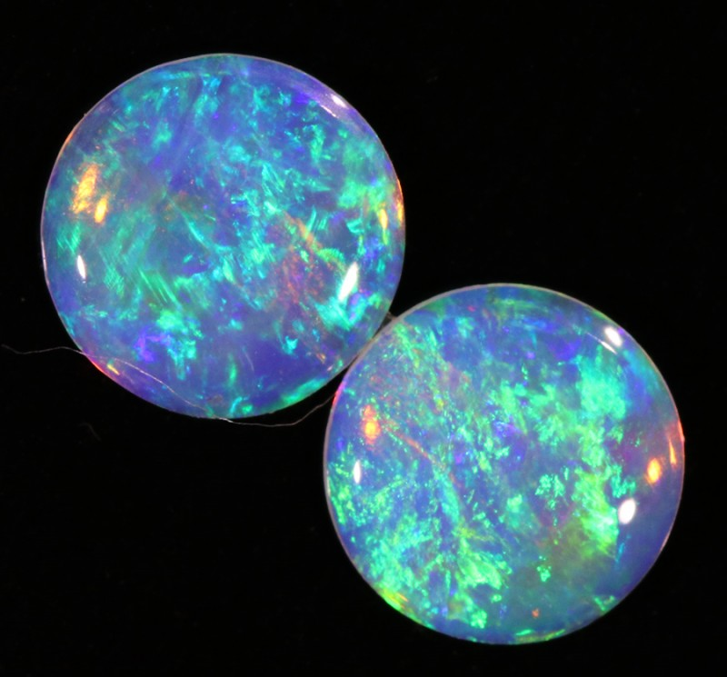 0.53CTS COOBER PEDY OPAL PAIR GREAT COLOUR PLAY  S730