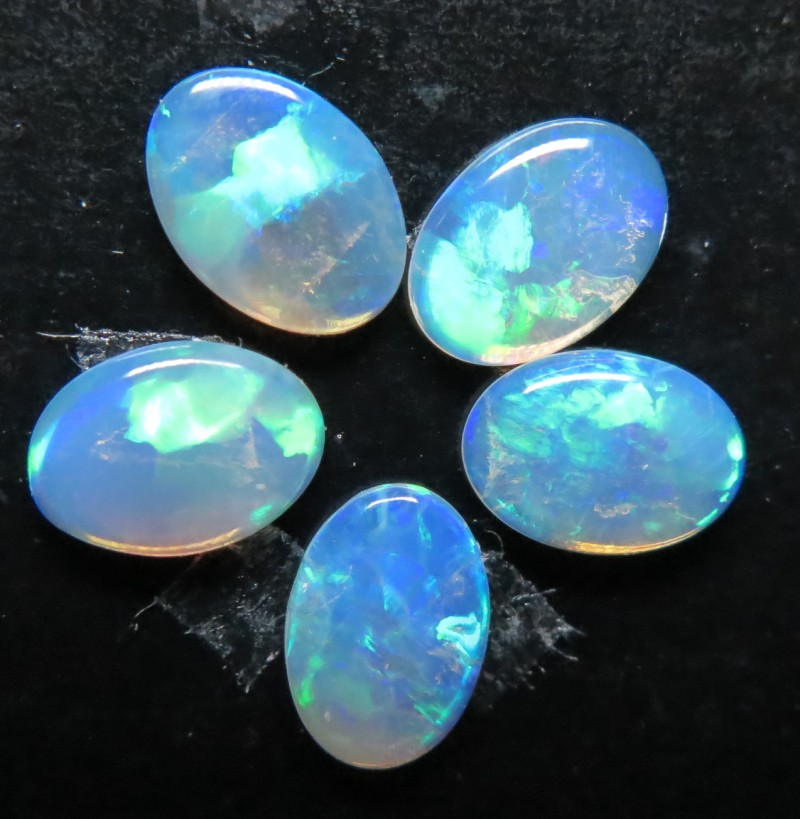 7x5mm  White / Precious South Australian Opal -5 Stone parcel