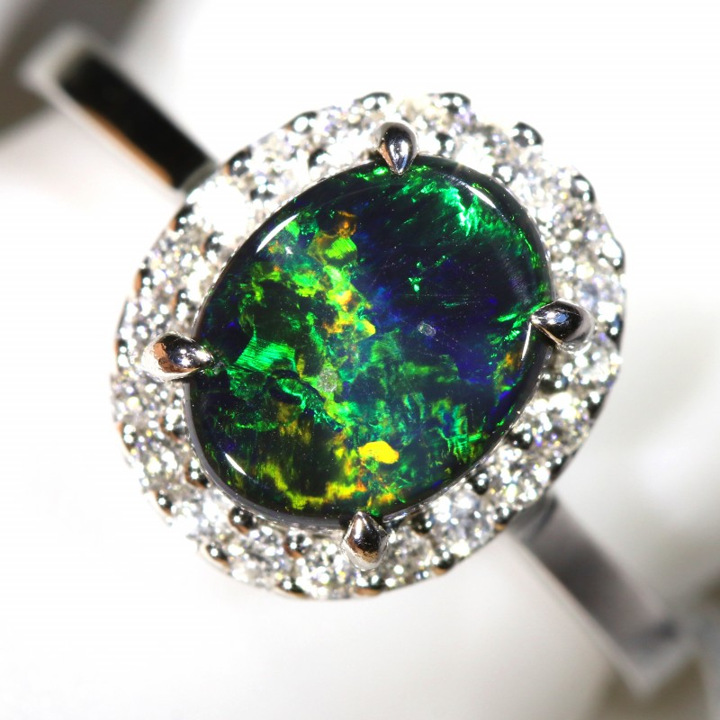 6.5 SIZE  14 k BLACK OPALS WITH DIAMOND ENGAGEMENT RING [SOJ6457]