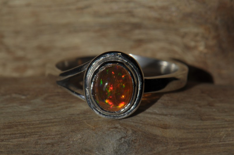 6sz Bright Mexican Fire Opal Ring Sterling Silver