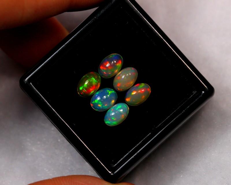 1.88ct 6x4mm 6pcs Ethiopian Welo Polished Opal Lot