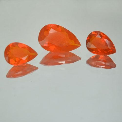 1.61 Cts Natural Mexican Fire Opal Pear Cut 3 Pcs