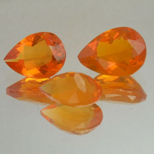 1.68 Cts Natural Mexican Fire Opal Pear Cut 3 Pcs