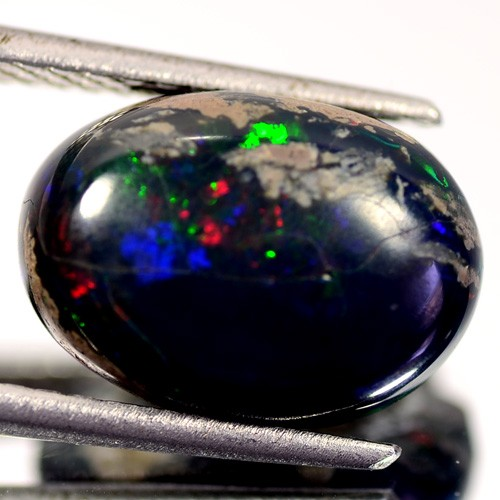 5.81 Cts Smoked Multi Color Play Ethiopian Black Opal Cab