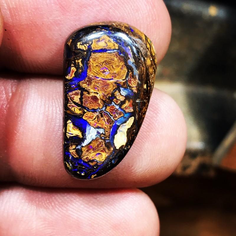 Koroit boulder opal nut cab