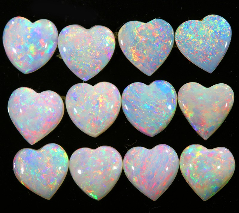 4.82CTS HEART SHAPE 12 STONES PARCEL COOBER PEDY -GREAT COLOR PLAY -S801