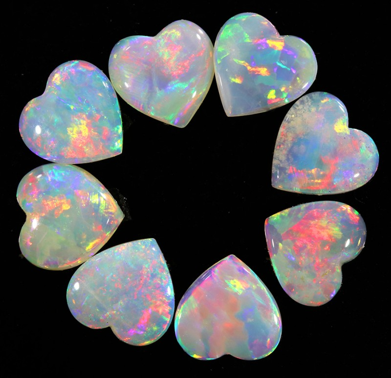 2.39CTS HEART SHAPE 8 STONES PARCEL COOBER PEDY -GREAT COLOR PLAY -S802