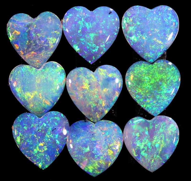 2.06CTS HEART SHAPE 9 STONES PARCEL COOBER PEDY -GREAT COLOR PLAY -S805