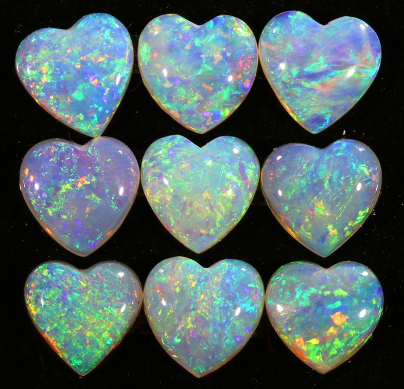 2.74CTS HEART SHAPE 9 STONES PARCEL COOBER PEDY -GREAT COLOR PLAY -S806