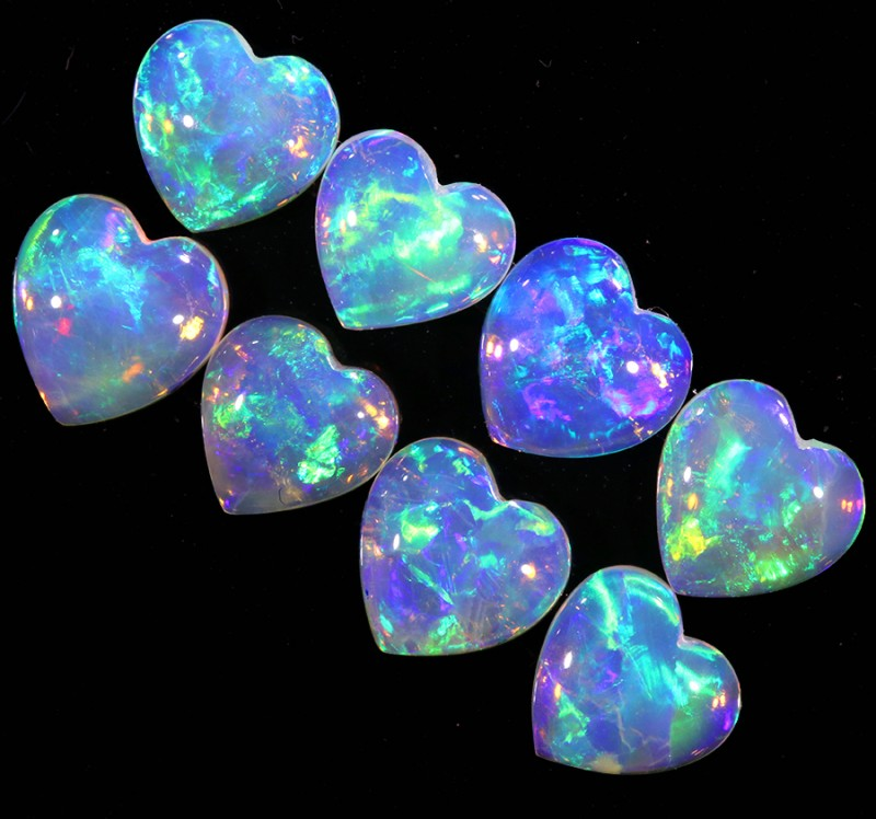 2.52CTS HEART SHAPE 8 STONES PARCEL COOBER PEDY -GREAT COLOR PLAY -S808