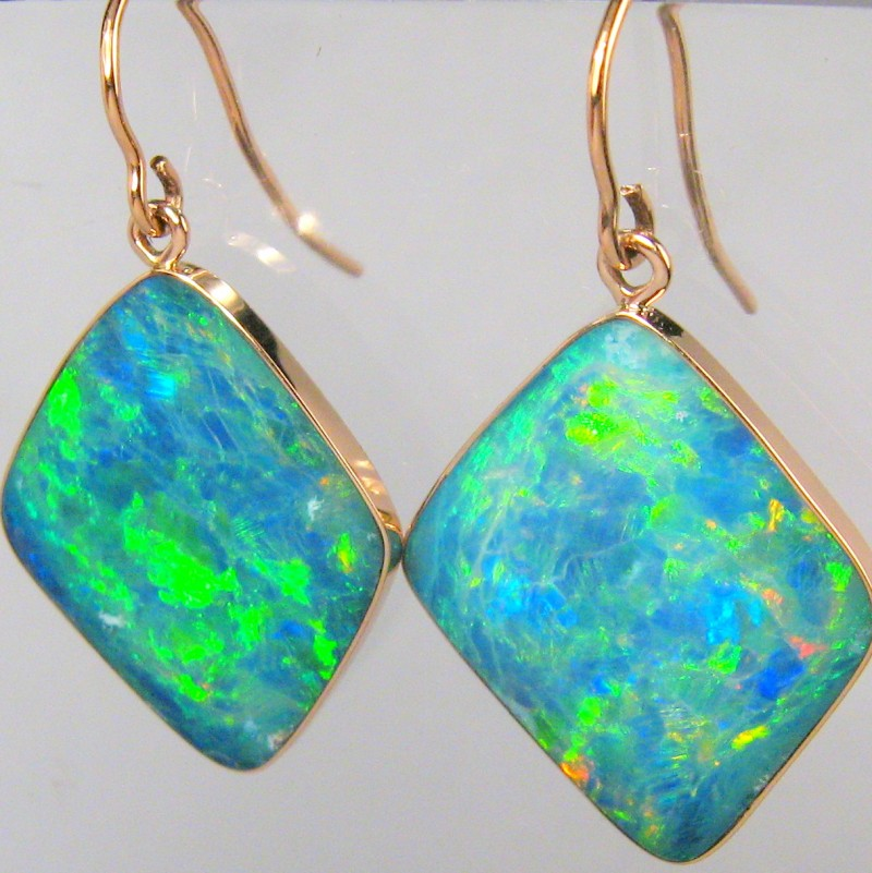 15.9ct 14k Rose Gold Large Dangle Australian Opal Earrings Gem Jewelry Gift