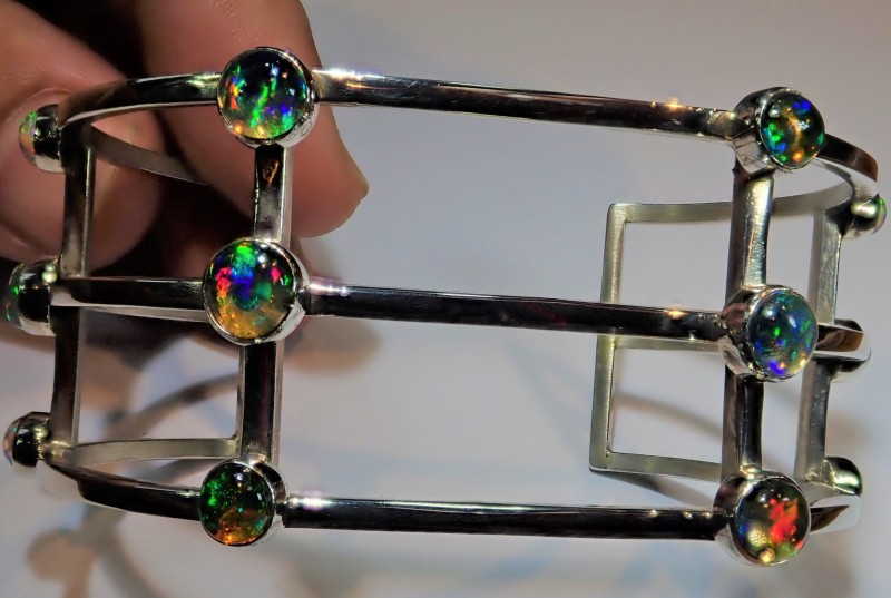 MEXICAN FIRE OPAL BRACELET CUFF STERLING SILVER AWESOME CRAFTMANSHIP