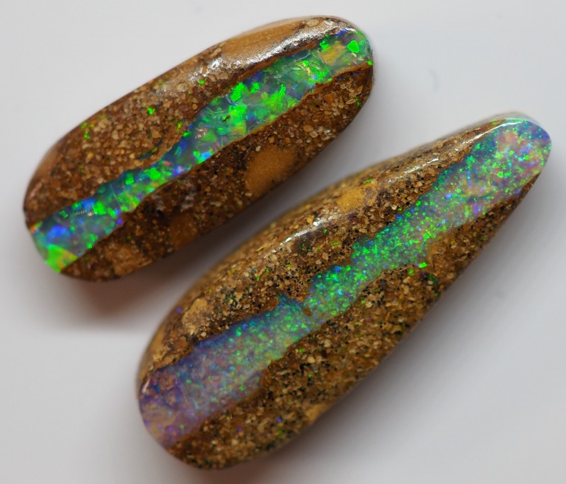 9.50CT VIEW  WOOD REPLACEMENT BOULDER OPAL ZI34  (Pair)
