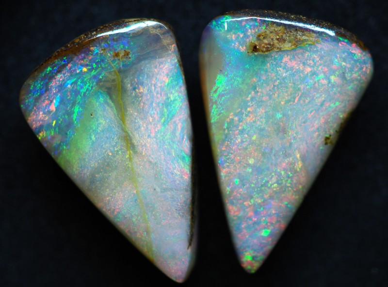 28.30CT VIEW PIPE WOOD REPLACEMENT BOULDER OPAL (Pair) TT127