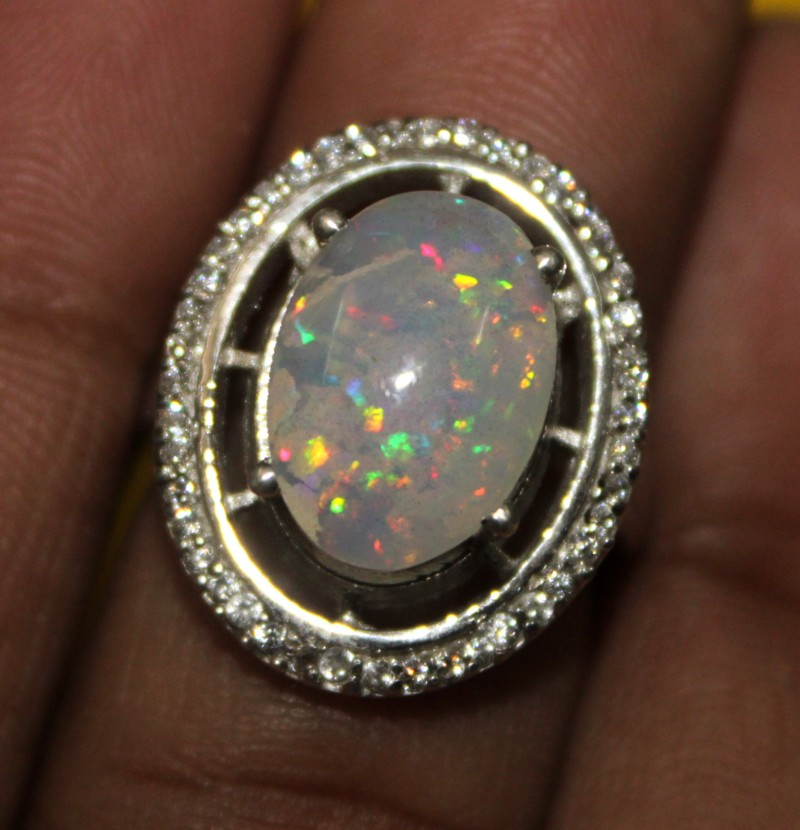 Ethiopian Fire Opal Silver Ring Size US ( 6 ) 0104