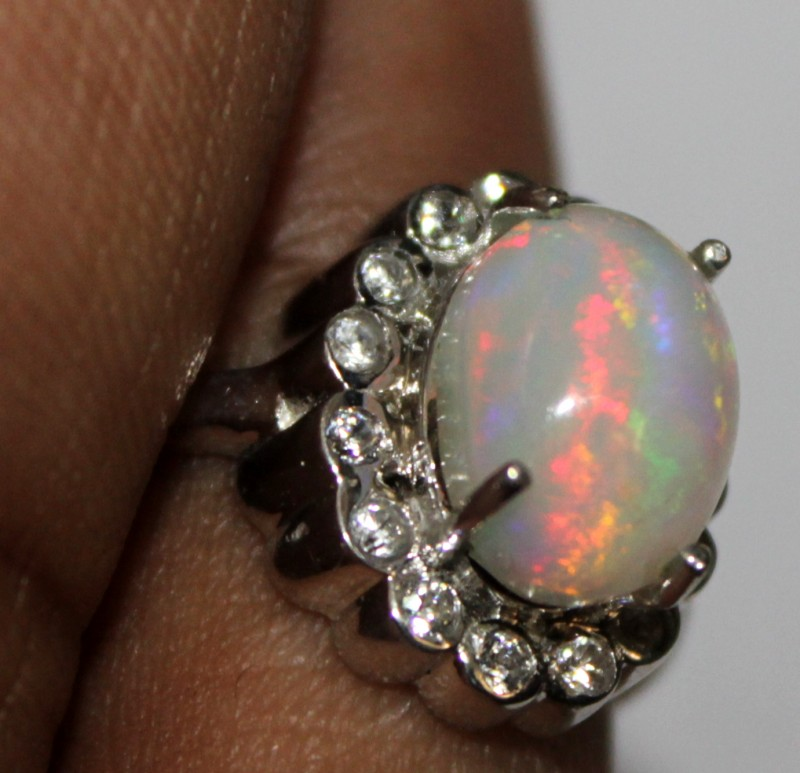 Ethiopian Fire Opal Silver Ring Size US (12) 0107