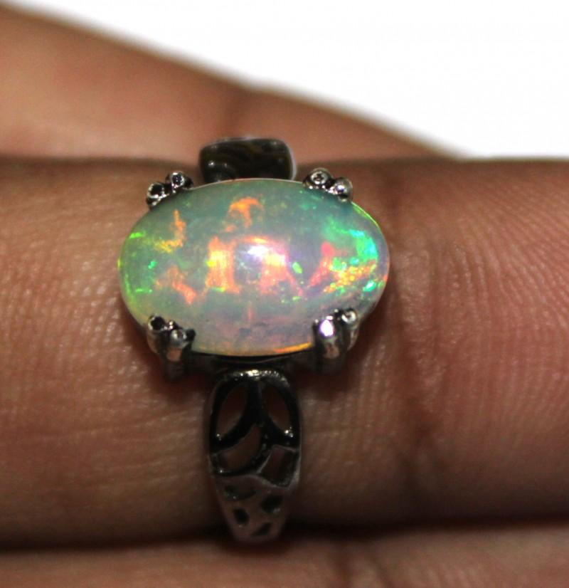 Ethiopian Fire Opal Silver Ring Size US (13) 0115