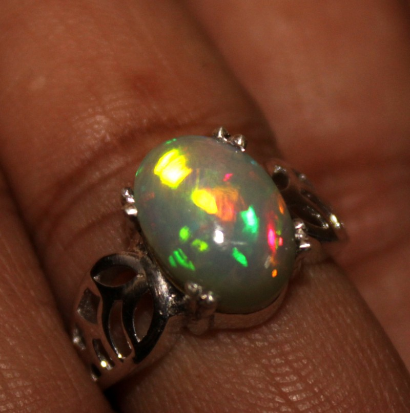 Ethiopian Fire Opal Silver Ring Size US (12) 0118