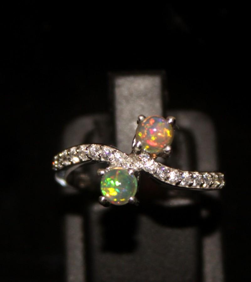 Ethiopian Fire Opal Silver Ring Size US (7) 0119