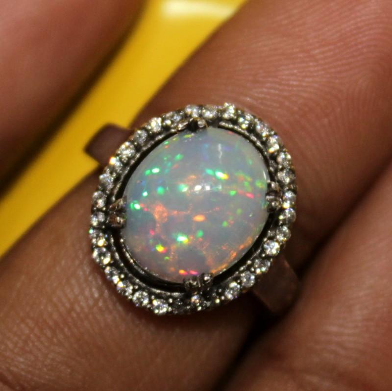 Ethiopian Fire Opal Silver Ring Size US (6) 0126