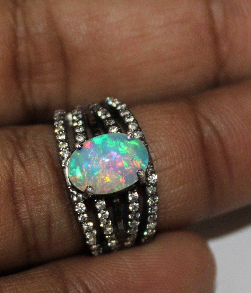 Ethiopian Fire Opal Silver Ring Size US (5.5) 0128
