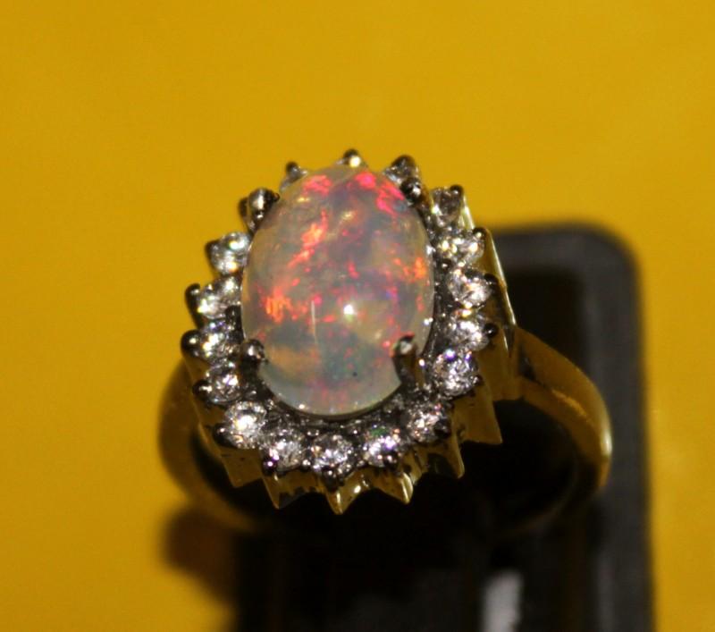 Ethiopian Fire Opal Silver Ring Size US (6.5) 0129