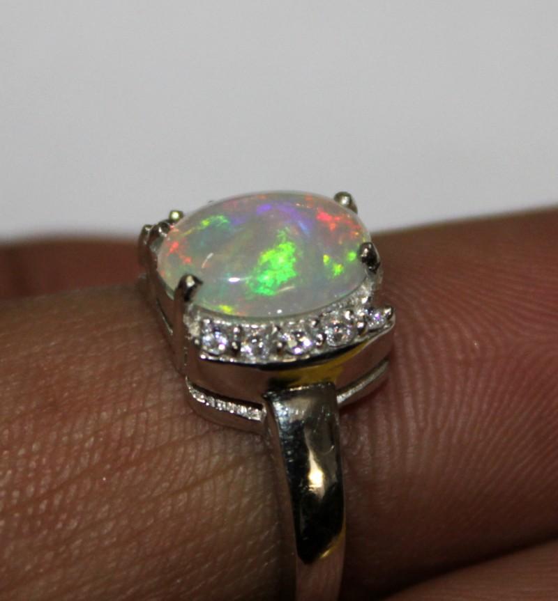 Ethiopian Fire Opal Silver Ring Size US (6) 0130