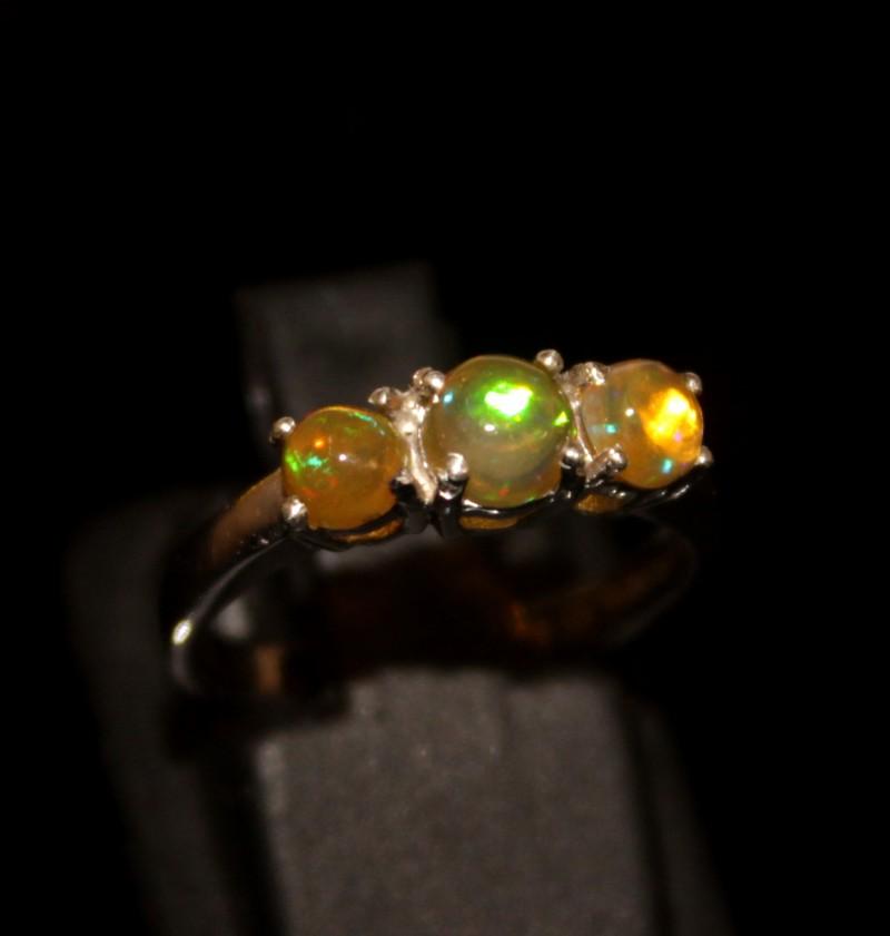Ethiopian Fire Opal Silver Ring Size US (6) 0131