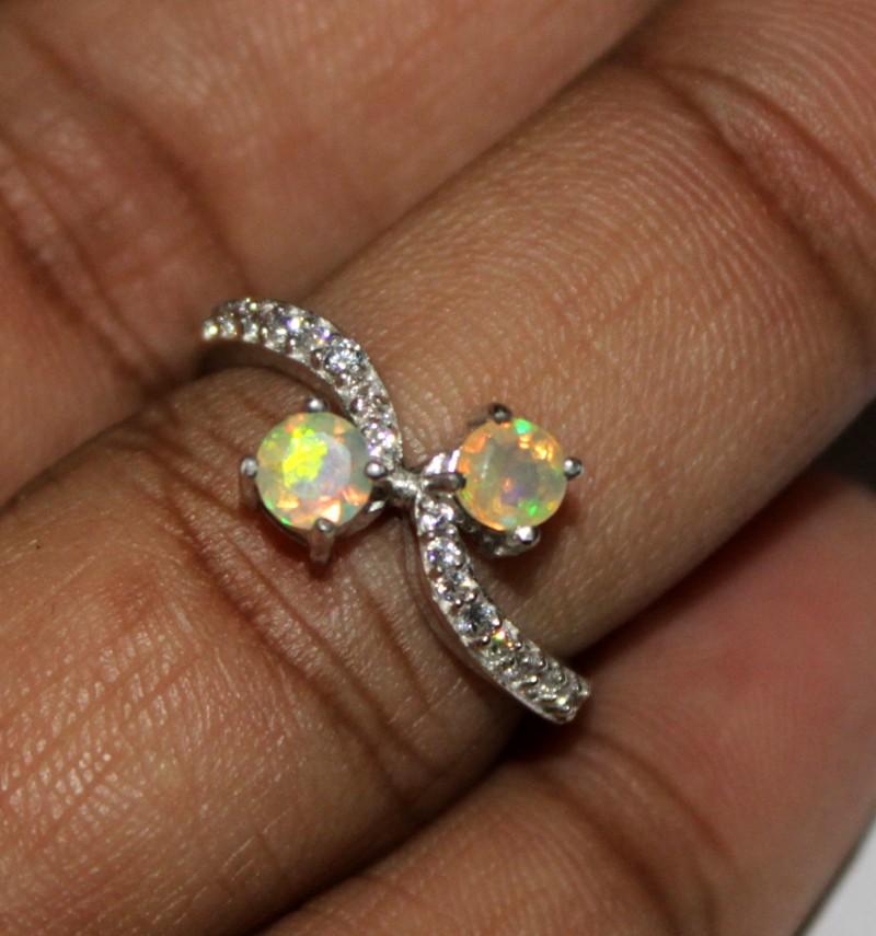 Ethiopian Fire Opal Silver Ring Size US (6.5) 0138