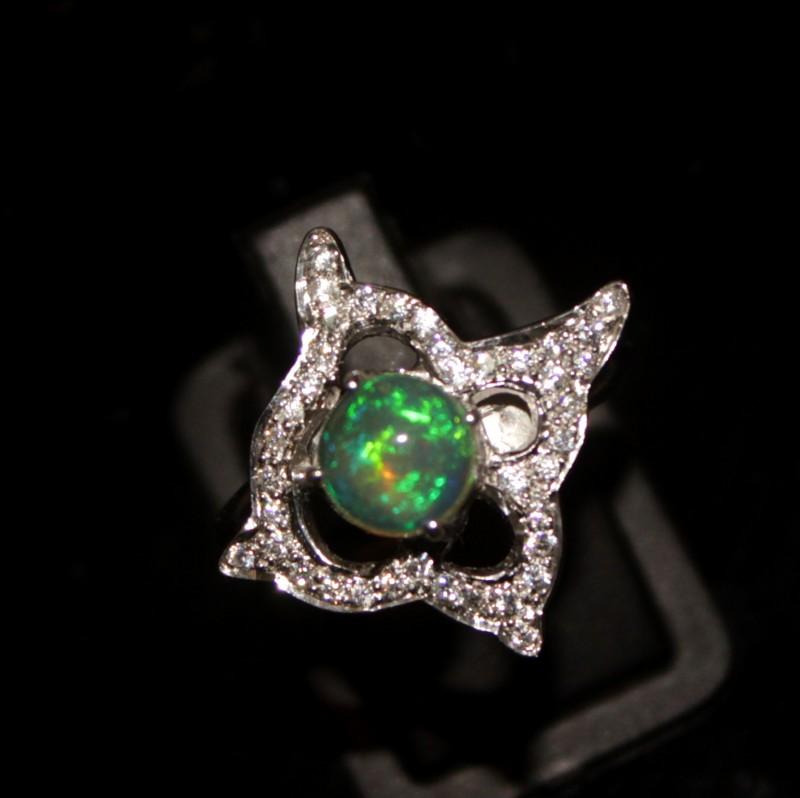 Ethiopian Fire Opal Silver Ring Size US (8) 0141
