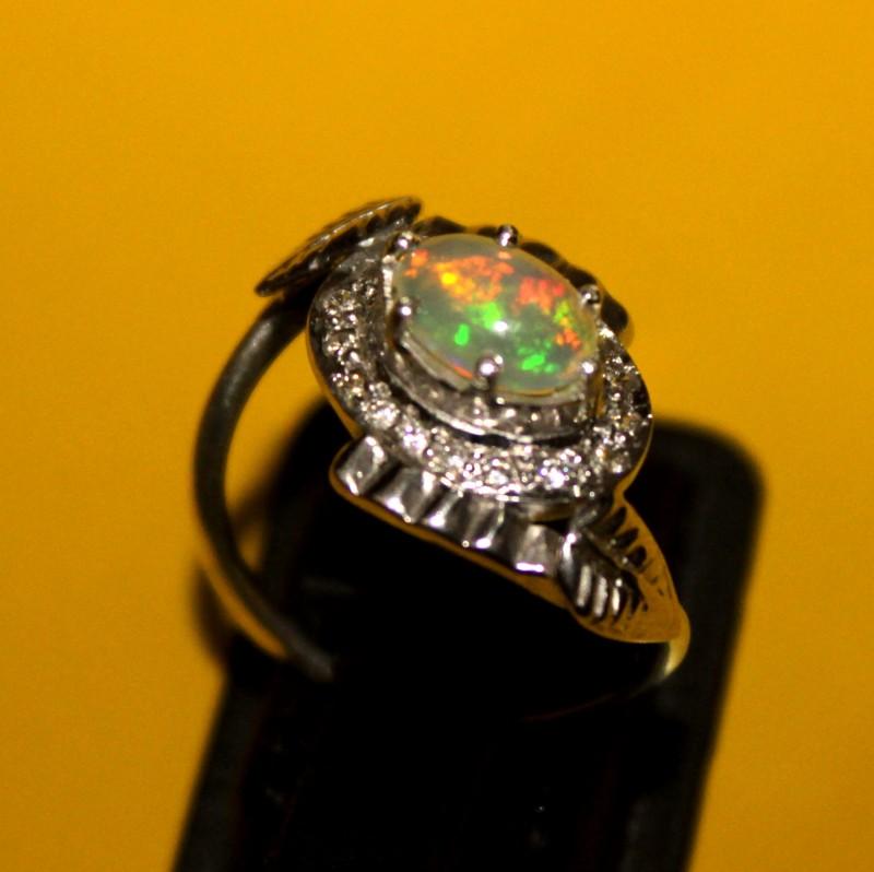 Ethiopian Fire Opal Silver Ring Size US (6.5) 0143