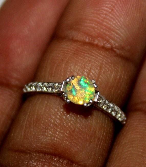 Ethiopian Fire Opal Silver Ring Size US (6.5) 0148
