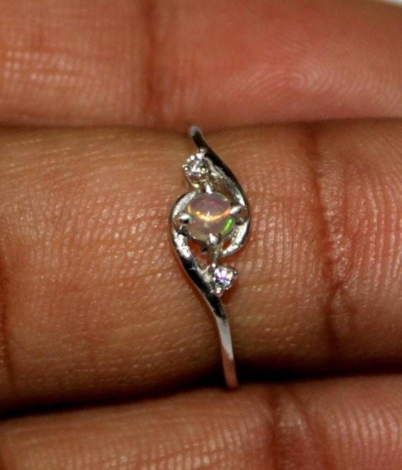 Ethiopian Fire Opal Silver Ring Size US (6.5) 0151